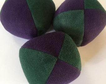 100g - 3 Soft PJ JUGGLING BALLS - Dark Green and Dark Purple