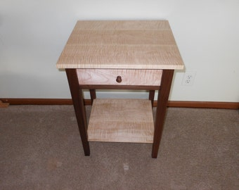 Walnut & curly maple nightstand with shelf
