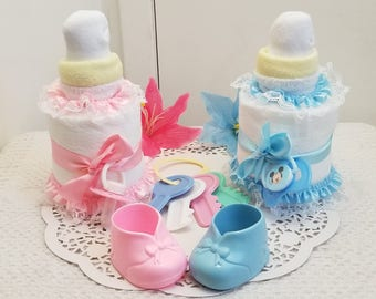 Large Baby Bottle Pacifier Diaper Cake Baby Shower Centerpiece Girl Boy