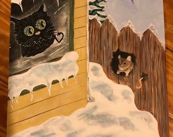 """Original Cat, It's """"Love larger than life"""" acrylic black cat painting showing love for a mouse"""