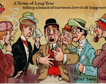 A Victim of Leap Year - Vintage Comic Postcard - After Leap Year