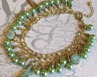 Green Druzy Agate Pearl Bracelet, Green Agate, Green Druzy, Druzy Bracelet, Pearl Bracelet, Druzy Jewelry, Agate Jewelry, Green Pearl