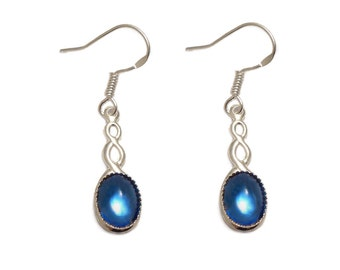 Sterling silver Celtic gothic earrings Sapphire blue cabochon with a Sterling silver ear hook