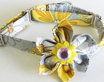 Yellow and Gray Floral Martingale Collar with Flower