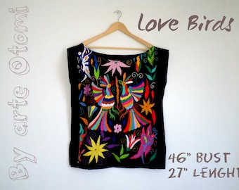 Otomi Love Birds Amazing Otomi Blouse Hand embroidered by #Otomi women. Black and multicolor embroidery - PLUS SIZES AVAILABLE