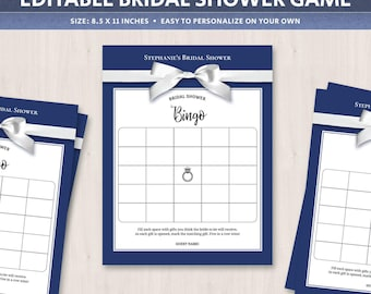 Bridal shower bingo template, bridal bingo cards, printable game, navy, editable bride-to-be gifts bingo games, DIGITAL