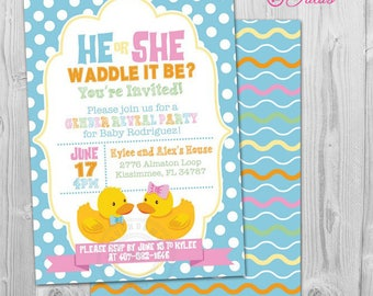 He or She Gender Reveal Invitation, He or She Gender Reveal Party Invitation Waddle it Be, Rubber Duck Gender Reveal Party Ideas Baby Reveal