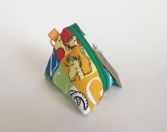 Mini Pouch -  Change Pouch - Dr. Seuss Coin Pouch - Pyramid Earbud Pouch - Key Chain Pouch - Triangle Pouch - Toys Pouch -Small Size