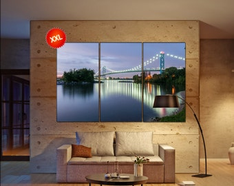 Ambassador bridge Large  canvas wall art Ambassador bridge linking Windsor canada and Detroit  print fine art 3 / 5 panels decoration