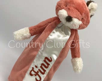 Personalized fOX | Baby blanket | Embroidered bunny | Baby shower gift | Super soft | Satin | Bunny | Puppy | Fox | Lamb | Baby Doll