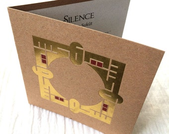 SILENCE Luxury Card Letterpress with Gold Accents, Contemporary Arabic Calligraphy