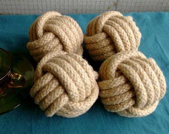 15Monkey poings/4 po de diamètre/nautique corde tressée Knots.Natural. Les mariages/Home/fait à la main.