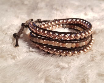 Moonstone and Swarovski Rose Gold Pearl Wrap Bracelet