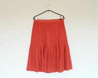 Vintage Oversized Red Polka Dot Drop Waist Pleated Midi Skirt