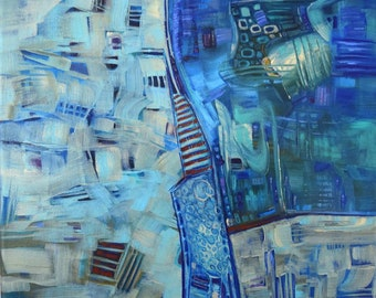 Abstract Painting, FREE Shipping,  Cityscape, Painting, Contemporary art, Acrylic Painting, Art, Painting, Abstract, Paris, Blue, Home Decor