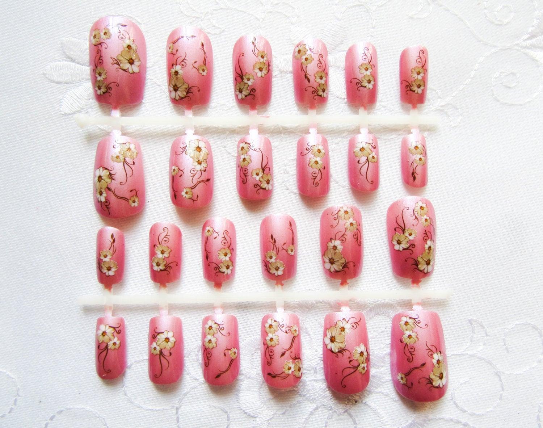 Pink Flower Nails / Fake Nails / Kawaii Nails / Press on Nails ...