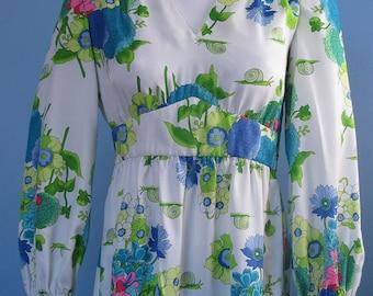 Vintage 60's 70s Hippie Boho Dynasty Floral Snail Garden Empire Waist Maxi Dress S M