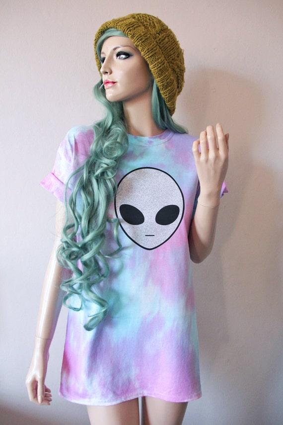 Pastel Alien Tie Dye T-Shirt hipster tumblr cute gift