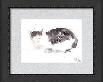 Original Handmade watercolor black Cat Painting, Cat Lovers Affordable Gift, Wall Decor, Minimalist watercolour Cat, Kids Art Tuxedo Cat Art
