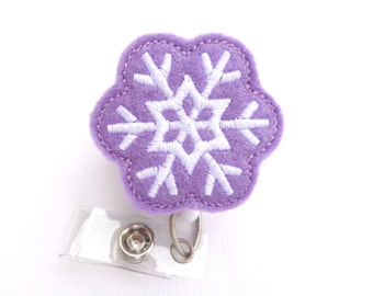 Christmas Retractable badge holder nurse badge reel - Winter Wonderland Snowflake orchid purple felt with white - nurse badge reel medical