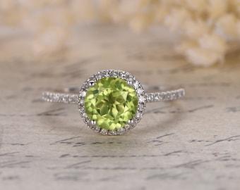 7mm Round Cut Peridot Engagement Ring Peridot halo Ring 14K Yellow Gold Peridot Ring August Birthstone Ring Pave Diamond Ring Diamond Halo