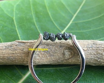 Black Diamond Wedding Band Engagement Ring Sterling Silver Raw Rough Uncut Diamonds Valentine's Day Gift Ideas For Her