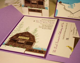 SAMPLE Rustic Lodge Wedding Invitation, Pocketfold