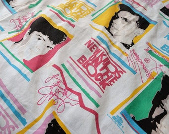 Vintage 90s 1990s New Kids on the Block NKOTB Twin Flat Sheet