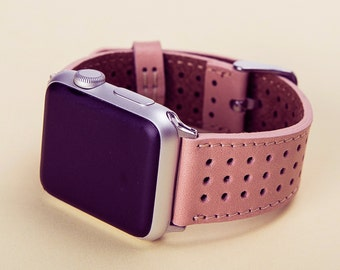 Pink iWatch Strap Apple Watch Band 38mm 42m Nude Genuine Leather Strap, Man or Women, Handmade, Lazer, Initials, Gift Wrapping Avaliable
