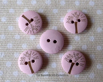 5 buttons round pastel pink wood pattern tree 20mm
