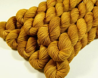 Mini Skeins, Hand Dyed Yarn, Sock Weight 4 Ply Superwash Merino Wool Yarn, HONEY MUSTARD, Knitting Yarn, Sock Yarn, Gold Yellow Tonal