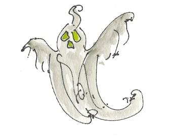 "FLYING GHOST....Clipart / Digital Download / 300 dpi/ hi resolution of Original Watercolor . 8""x10"" Great for any application."