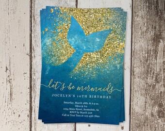 Printable Mermaid Invitation Template, Mermaid Birthday Party Invite, Mermaid Theme First / 1st Birthday, Instant Download Digital File PDF