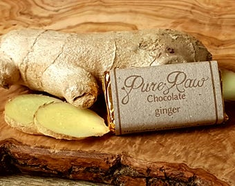 Pack of 10 - Pure Raw Chocolate - Ginger