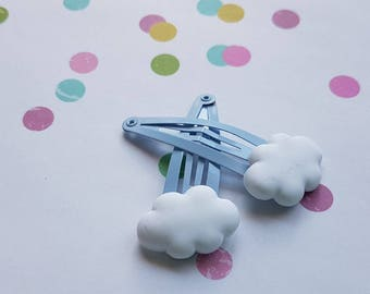 Novelty hair clips for girls - fluffy clouds 2pk