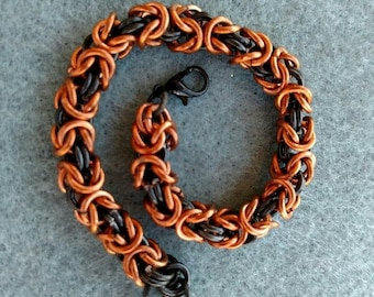 Byzantine Chain Maille Bracelet, Copper and Black