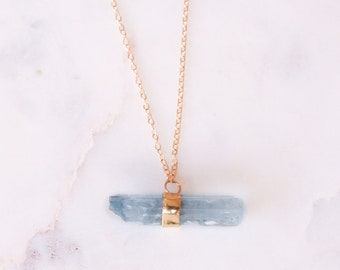 14k Aquamarine Crystal Necklace | Raw Crystal Aquamarine | 14k Gold