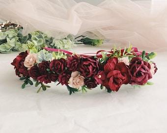 Red flower crown, Burgundy Bridal deep red wedding crown, Burgundy floral crown, Bridal flower headband, Deep red Wedding crown, flowergil