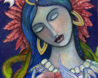Ixchel / Mayan Triple Moon Goddess / Spiritual Art / Goddess of Childbirth, Motherhood and Healing / Mayan art / Fertility Goddess