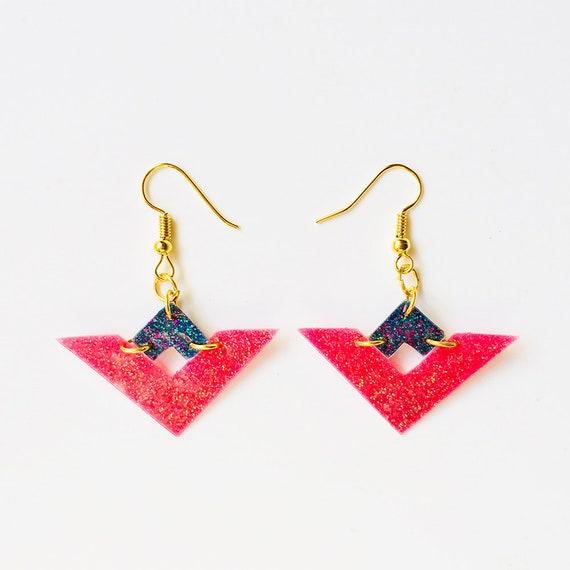 Strawberries temptation earrings - Triangles geometric glitter earrings - Colorful earrings - Boho festival earrings - Gift for her