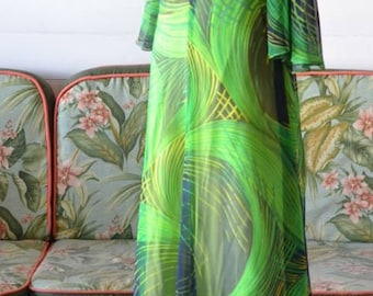 Women's Vintage green Maxi Dress sleeves size 14 – 16 AUS or 12-14 US sizing