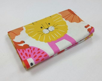 LITTLE LION fabric Coupon cotton patchwork Little Lion yellow orange and pink 50x55cm