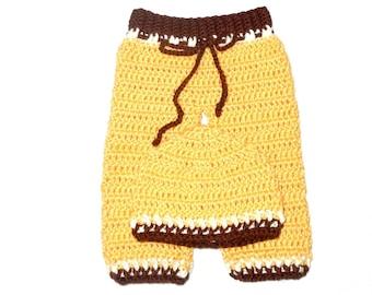 Crochet Baby Pants and Hat Set, Yellow, Boy, Girl, Baby Shower, Giraffe, (0-3 months),