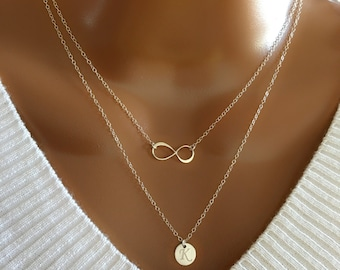 Layered SET of Two Necklace, Sterling Silver Infinity & Initial Necklace, Personalized Disc, beautiful Gift, Dainty Necklace