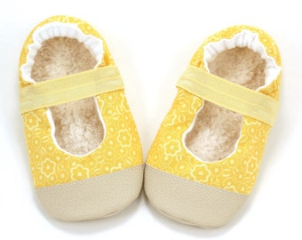 yellow mary janes baby girl shoes yellow flower mary jane baby booties toddler mary janes elastic shoes for baby girl rubber sole fabric