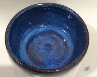 blue ceramic pottery bowl- prep bowl- dish-handmade pottery- soup bowl - serving dish -in stock  B18