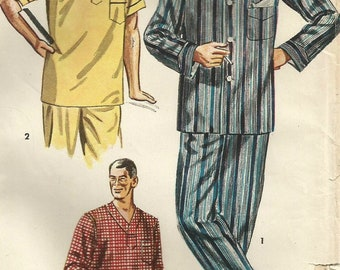 Vintage 50s Simplicity 4108 Mens Night Shirt and Pajamas Sewing Pattern Size Medium 38-40