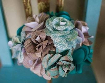 Paper Flowers,Paper flower bouquet, Rustic Wedding Bouquet, Barn Wedding, Barn Wedding Bouquet, Country Wedding, Scrapbook Flower