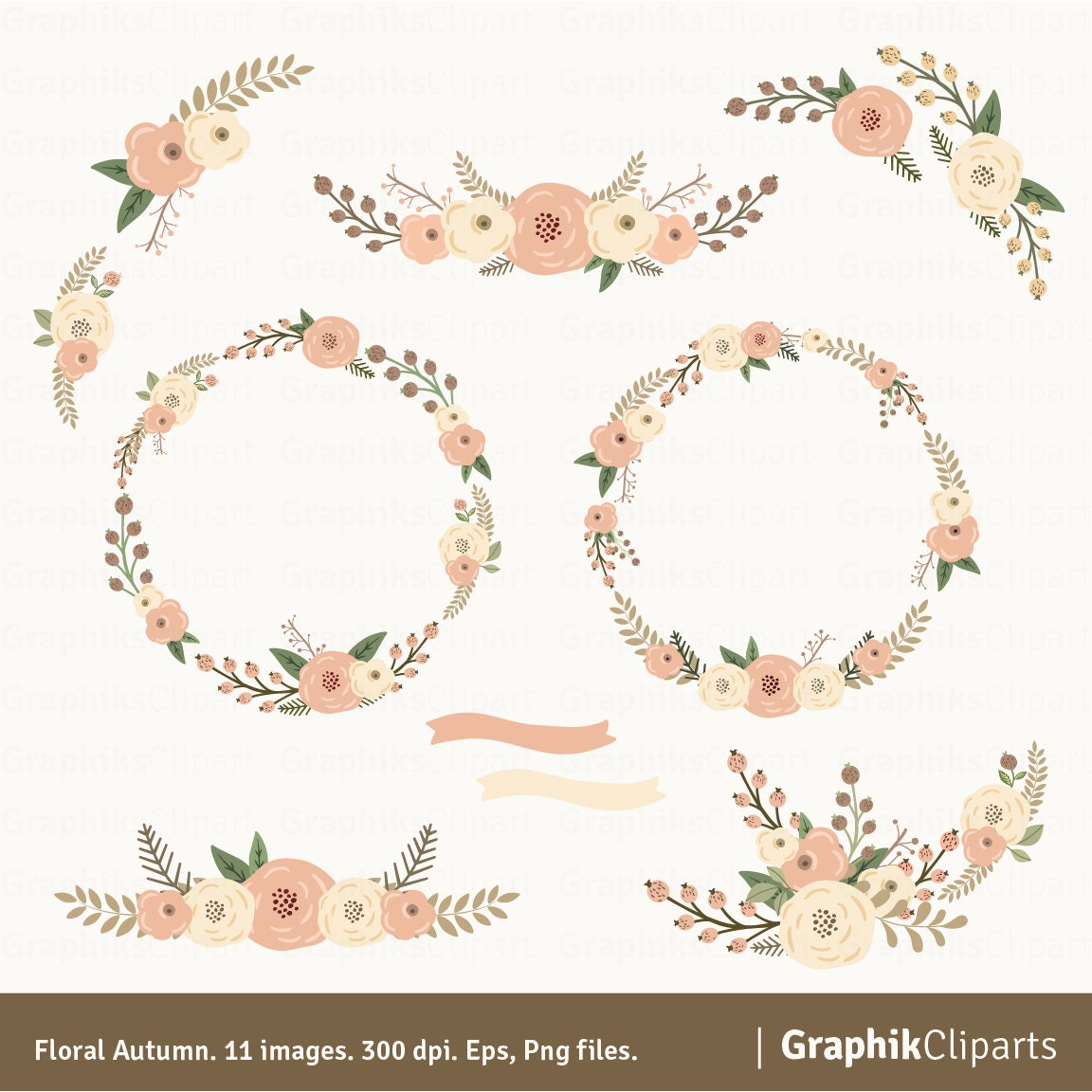 Floral Autumn Wreaths Clipart Rustic Flowers