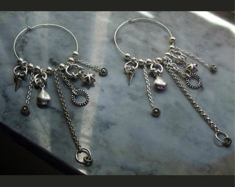 hoop earrings with charms multi large earring spikes rings chains lots of charms sterling silver chain earring long big fierce earring